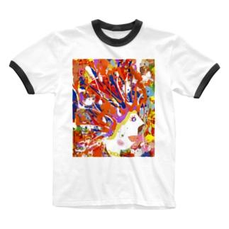 岡本なう - okamoto now -のド派手な生活応援グッズ Ringer T-shirts