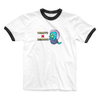 おばじゅう×アマビエ Ringer T-shirts