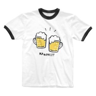 ビールでKANPAI!! Ringer T-shirts