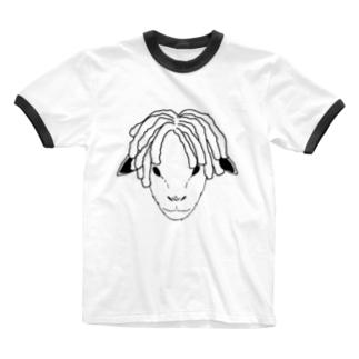 ドレッドヒツジ (モノトーン) Ringer T-shirts