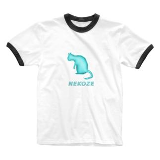 NEKOZE水色 Ringer T-shirts