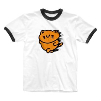 chiffonsanの爆速にゃんこ Ringer T-shirts