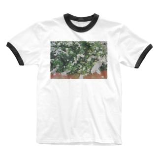 雪柳(ユキヤナギ) Ringer T-shirts