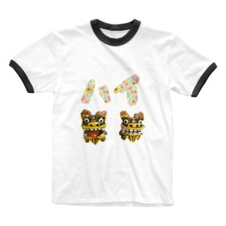 シーサー(はい) Ringer T-shirts