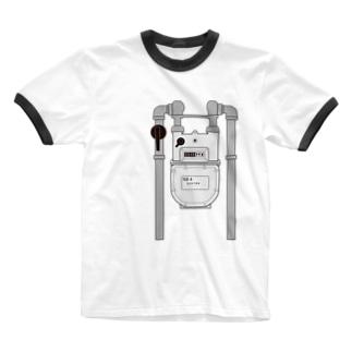 ガスメーター Ringer T-shirts