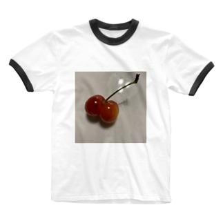 プリプリさくらんぼ Ringer T-shirts