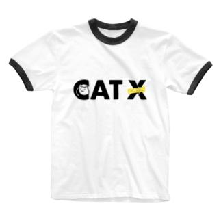 CAT Xロゴ Ringer T-shirts