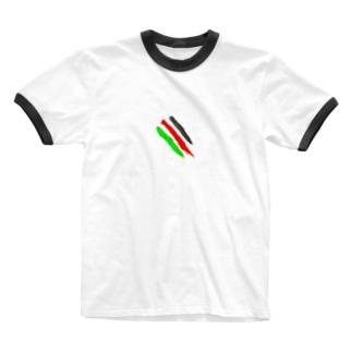 指線描き Ringer T-shirts