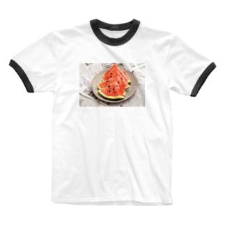 スイカ、切れたわよ〜T-shirt Ringer T-shirts