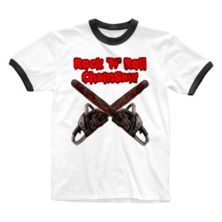 【12moonMonstarZ】トゥエルブムーンモンスターズのロッキンロールチェインソー 赤&鉄色 Ringer T-shirts