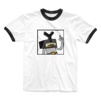 M=らくがき‐ハコカブト(C-2) Ringer T-shirts