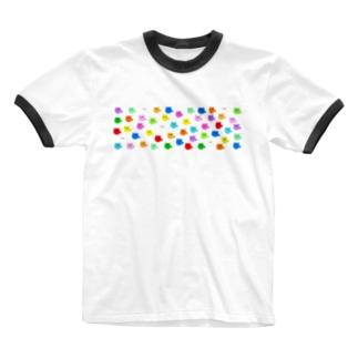 極限まで丸いポメラニアン・カラフルL Ringer T-shirts