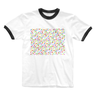 極限まで丸いポメラニアン・カラフルS柄 Ringer T-shirts