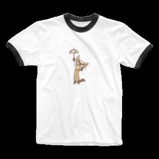 ザ・ワタナバッフルのテン「雨かしら?」 Ringer T-shirts