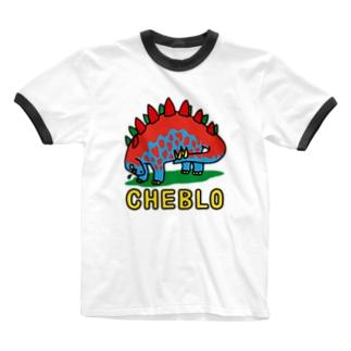 ザウリ 赤青 Ringer T-shirts