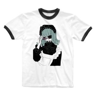 緑のお嬢さま Ringer T-shirts