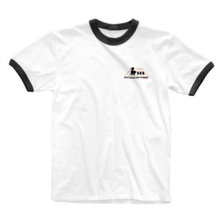 カルガモ親子の横断中 Ringer T-shirts