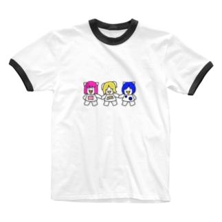 手繋ぎ三匹の子むすめ Ringer T-shirts