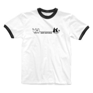 綱引き犬 Ringer T-shirts