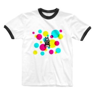 CMYKキャットC Ringer T-shirts