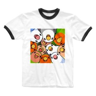 みっちりむっちり過密コザクラインコさん【まめるりはことり】 Ringer T-shirts