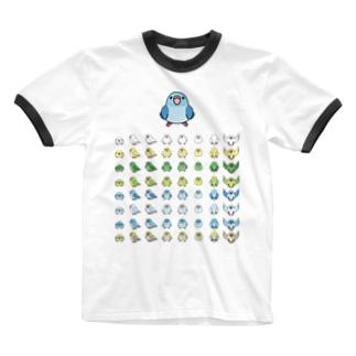 まめるりはことりの整列マメルリハ隊【まめるりはことり】 Ringer T-shirts