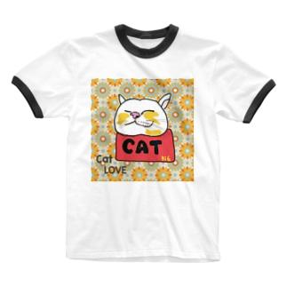 ねこのリラックス レトロ Ringer T-shirts