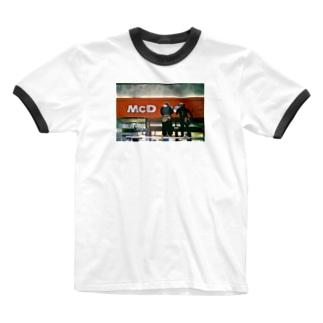 マクド Ringer T-shirts