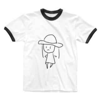 りんのむぎわらの女の子 Ringer T-shirts