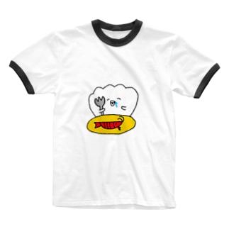 はらぺこホタテさん Ringer T-shirts