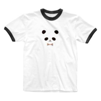 カラフル蝶ネクタイ パンダ Ringer T-shirts