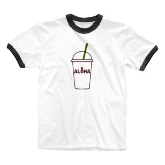 ALOHA コーヒー 021 Ringer T-shirts