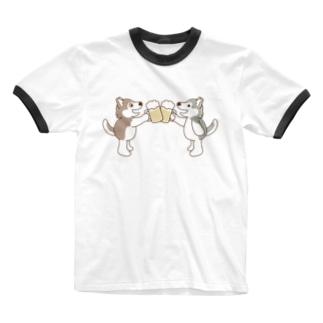 乾杯してるハスキー3 Ringer T-shirts