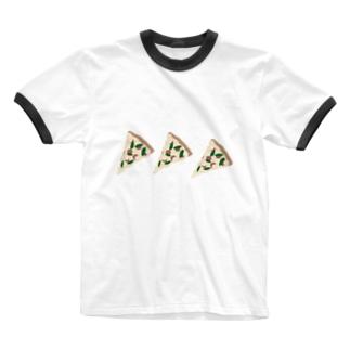 ピザを食べよう Ringer T-shirts