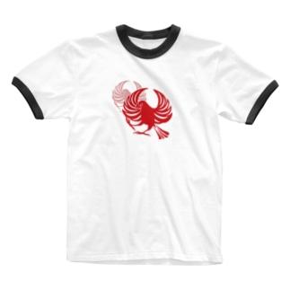 文鳥紋~紅 Ringer T-shirts