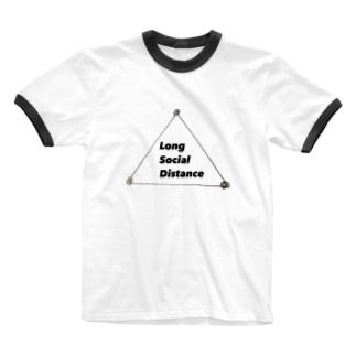 ロングソーシャルディスタンス Ringer T-shirts