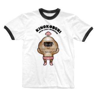 キノコブヒ(f) Ringer T-shirts