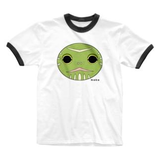 亀の顔です Ringer T-shirts