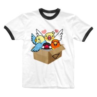 拾ってくださいインコ【まめるりはことり】 Ringer T-shirts