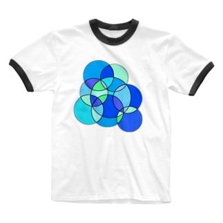 ミニラボのブルーのステンドグラス Ringer T-shirts