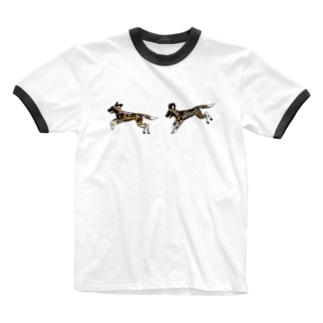 なかよしリカオン Ringer T-shirts