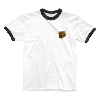 顔がのびてるクマ。 Ringer T-shirts