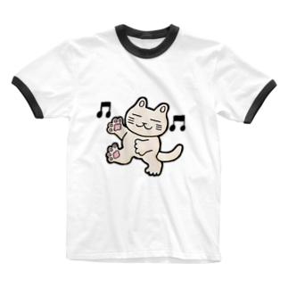 おどるにゃんこ Ringer T-shirts