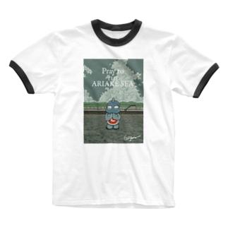 有明ガタァ商会の有明海の祈り Ringer T-shirts