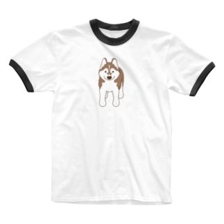 スタンダップハスキー3 Ringer T-shirts