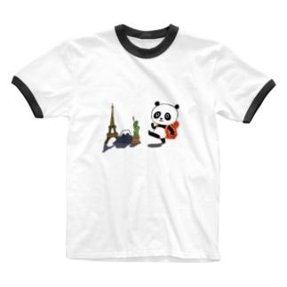 旅するパンダ Tシャツ Ringer T-shirts