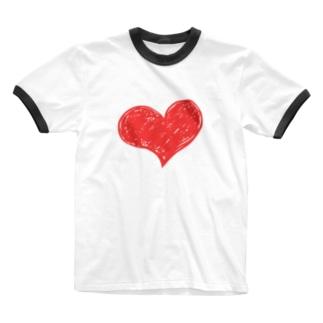 ハートマーク手書き Ringer T-shirts