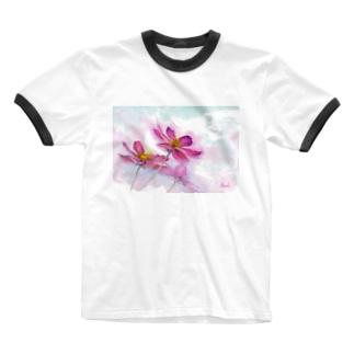 コスモス「どこまでも」透明水彩お花プリント Ringer T-shirts