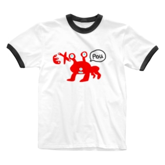 Pouガエル Ringer T-shirts