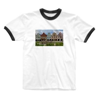 チェコ テルチの街並み Ringer T-shirts